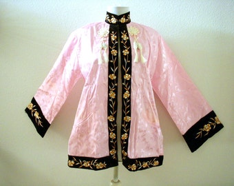 Vintage Pink and Black Chinese Jacket - Pink Satin Asian Jacket Black Velvet Embroidery - 60s Japanese Jacket - New Old Stock - Small Medium