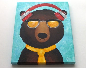 Hipster Black Bear, Whimsical Art, animal painting for home or office, art for childrens room
