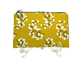 Mustard Yellow Zipper Pouch, Pussy Willow Cosmetic Bag, Pencil Pouch, Accessory Bag, Gadget Case, E-Cig Case, Zip Bag, Padded Pouch