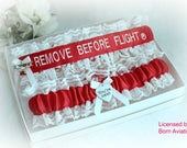 REMOVE BEFORE FLIGHT® Embroidered Wedding Garter Set - Remove Before Flight® Garters - Pilot Wedding Garters - Fun Wedding Garter set.