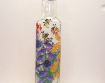 Hand Painted Wild Flowers Pour Oil Vinegar Soap Bottle Purple Pink  Blue Red YellowOrange Green with Butterflies Bumblebees and a Dragonfly