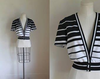 vintage 1970s top - SHUTTERS black & white striped bolero jacket / M