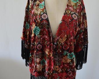 Vintage 70s Boho Chic Long Cover Up VEST Chunky VELVET Floral Fringe Hippie Shawl Free Shipping US
