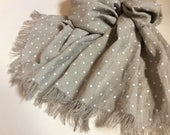 Polka dot linen scarf, natural linen scarf with white dots, long frayed unisex scarf, men's linen scarf, women's summer shawl