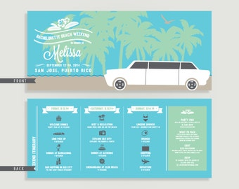 Beach Bachelorette Party Invitation with Itinerary - DIY Printable File or Printed - Bachelorette Beach Weekend #00041-PI10