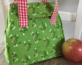 Insulated Lunch Tote, Lunch Tote, Insulated Tote with Handles, Made to Order Lunch Tote, Choose Your Own Fabrics