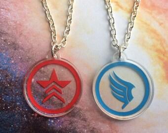 MASS EFFECT friendship necklace set - Commander Shepard Renegade Paragon Paragade - Free Shipping!
