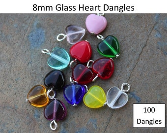 100 (One Hundred) 8mm glass heart dangles- you pick colors-  silver, gold, gunmetal, antiqued brass, copper, or antiqued silver plated loops