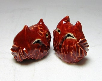 Red Owl Cake Toppers (set of 2) - Ceramic Owl Cake Topper - Pottery Owl - Hoot Owl - Paper Weight - Studio Choice