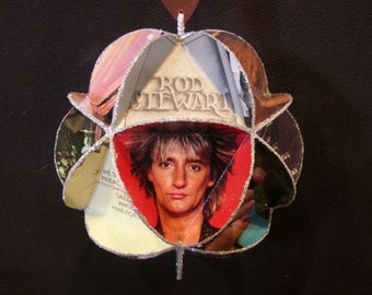 Rod Stewart Album Cover Ornament Made From Record Jackets