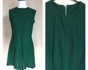 Vintage 1960's Forest Dark Greem Hand Made Mod Mini Shift Dress Small S