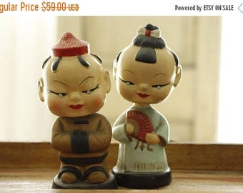 ON SALE Vintage Asian Bobble Head Figure Pair, Made in Japan, Jeweled Eyes, Vintage Asian Man & Woman Bobble Head Dolls, Made in Japan, Coll