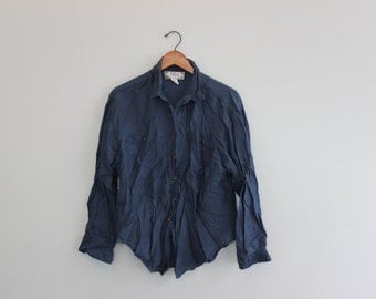 Vintage Blue Button Down Sheer Blouse by Johnathan Martin