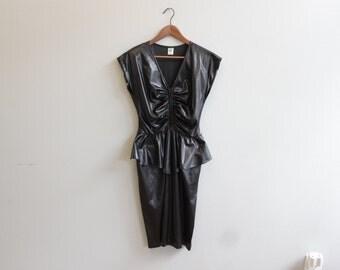 Vintage Metallic Black Fitted Dress