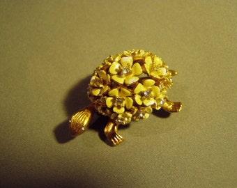 Vintage Alice Caviness  Turtle Pin Brooch Enamel Flowers Rhinestones  9009
