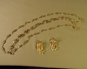 Vintage Necklace Clip Earrings Set Yellow Gold Tone & Faux Pearls 9271