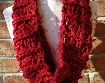 Super Soft and Thick Red Lacy Cowl