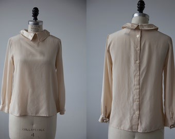 Ivory SILK Blouse with Satin Collar and Buttons Down Back XS-S