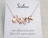 Spring SALE Personalized Orchid Initial Necklace, Bridal-Wedding-Birthday Gift Idea, Rose Gold Orchid Initial Necklace, Bridesmaids Gift