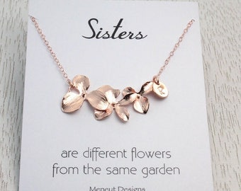 Spring SALE Personalized Orchid Flower Necklace, Bridal-Wedding-Birthday Gift Idea, Rose Gold Orchid Initial Necklace, Bridesmaids Gift