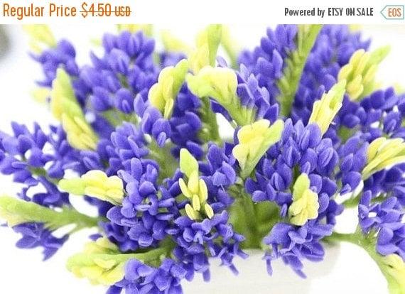 Miniature Blue Bonnet Polymer Clay Flowers Supplies 3 bunches