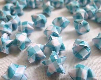 100 Cool Mint Green Checkered Origami Lucky Stars