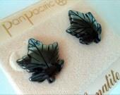 Vintage Hematite Leaf Earrings... Pan Pacific... On Original Card