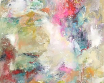 Colorful Abstract Expressive Painting- Let the Light Shine Through 30 x 30