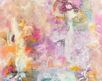 Colorful Abstract Expressionist Original Painting-  Blossom Fair 24 x 36