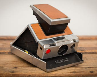 Polaroid SX-70 Film Land Camera, Vintage 70s, Original Model, Brown & Silver, Folding Design, Needs Repair