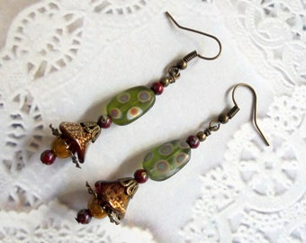 Olive Green, Mustard Yellow, Maroon and Brass Boho Earrings (3442)