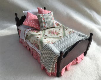 Dolls House Luxury Dressed 1/12th Single Bed - Vera - NEW SPRING 2017