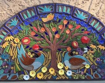Tree of Life wall decor, Mosaic Wall Art, Folk Art Tile, Southwest decor, garden art, quail, pomegranate tree, cactus tile, handmade