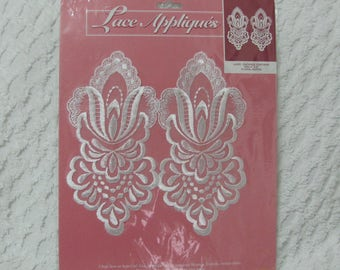 Two Floral 4 by 8 Inch White Lace Applique Trim Pieces In Package LA303