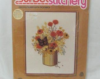 Vintage Sunset Stitchery Field Flowers With 3-D Monarch Crewel Needlework Craft Kit 2286