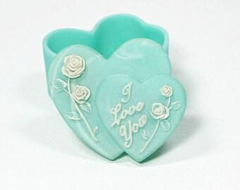 I Love You Heart Shaped Trinket Box, Small Green Jewelry Box, Valentine's Day Gift