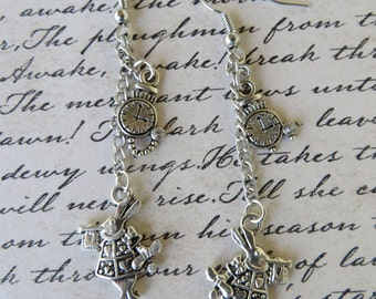 White Rabbit Dangling Charm Earrings
