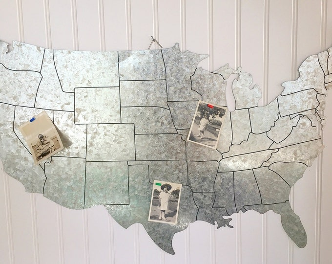 USA Map Galvanized Steel United States Large Sign with Magnets