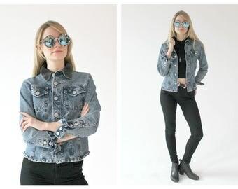 90s GAULTIER Denim Jacket- Designer Vintage- S/M, Distressed Jean Jacket, Jean Paul Gaultier