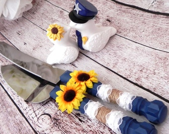 Police Love Birds Wedding Cake Topper with Cake Server and Knife Set, White, Yellow Sunflower, Navy Police Hat, Bride and Groom