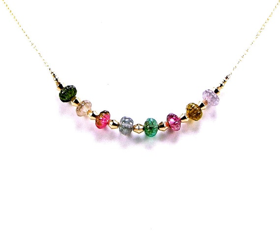 Multicolor Carved Tourmaline Gold Fill Necklace - N551