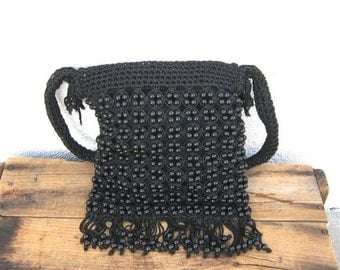 15% OFF Out Of Town SALE SALE Vintage Hippy Boho Black Macrame Beaded Fringed Shoulder Bag
