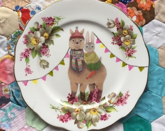 Alpaca and Bunny With Bunting Vintage Illustrated Plate