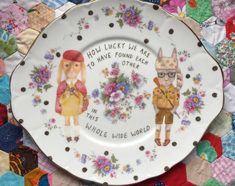 Moonrise Kingdom Bunnies how Lucky We Are Vintage Illustrated Plate