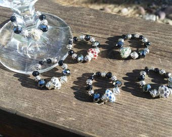 6 piece Rhinestone and Crystal Elegant Wine Glass Charm Set - black and Silver with red, blue, purple, gray, yellow, green
