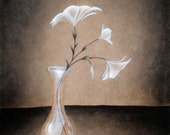 Broken Vase -  Charcoal sketch Print- Multiple sizes available - 5x7 - 8x10 - flowers, spring art, pencil drawing, wall art
