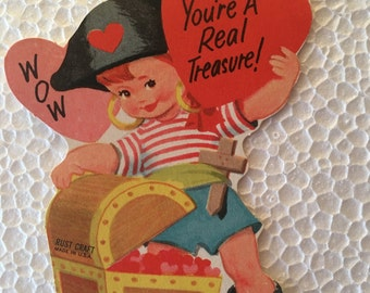 Vintage Valentine Little Pirate Girl Sweet 1960's  or Earlier Retro
