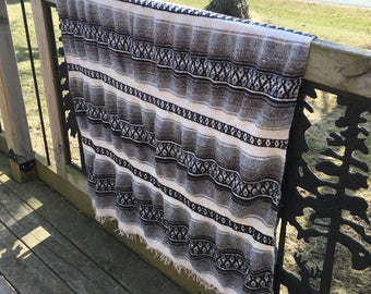 Vintage Mexican Hippie Blanket Multi Colors Black Cream Gray