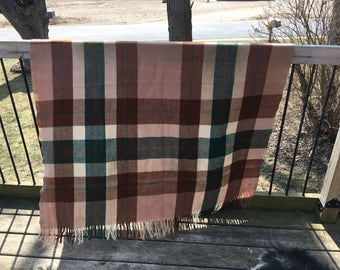 Vintage Lap Blanket Great Colors Lovely Green Browns Cream