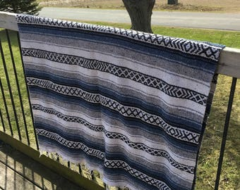Vintage Mexican Hippie Blanket Multi Colors Black Cream Gray Blue